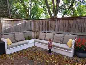 Sectional garden or patio bench with cushions