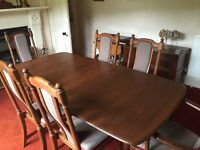 Ercol Dorchester dining table, 6 Hampton chairs, sideboard, cabinet and plate rack
