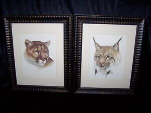 PAIR OF WILD CATS PRINTS BY SALTIEL,GORGEOUS & STUNNING CATS.