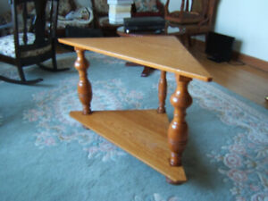 Solid light oak TV corner table. Beautiful condition. 1960's