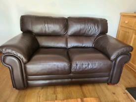 2 seater plus 3 seater brown leather sofas