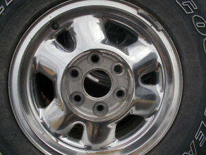 4 CHROME 16 IN CHEVY RIMS AND TIRES 6 BOLT PATTERN