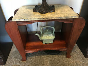 Restored Antique Magazine Table with faux marble top