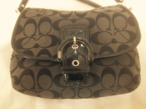 Authentic Small Coach Black Fabric/Patent Leather Crossbody Bag