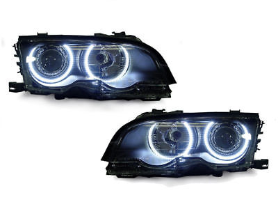 (DEPO UHP LED Angel Eyes Projector Headlight For 99-01 BMW E46 4D Sedan 5D Wagon)