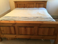 King size bed: frame and mattress