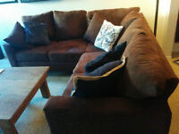 Comfy Suede L Couch & Pillows!