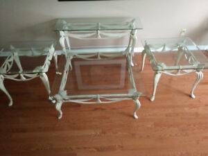 4 Beveled glass tables great for holiday entertaining.