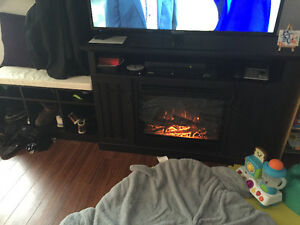 Electric fire place and bench