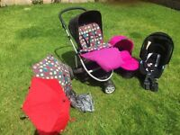 Mamas & Papas 3 in one pram plus car seat with iso fix base