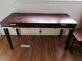 Long dark wooden desk/vanity