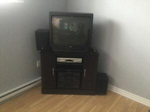 Meuble TV + système de son + TV