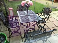 Garden table and chairs unique set used