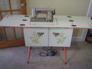 Painted Sewing Cabinet with Stool