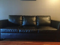 Beautiful 3 seat Black Leather Couch for Sale