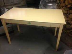 Pale Yellow Wooden Desk With Decorative Glass Handle $50 OBO