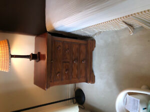 King Bed with leather headboard, mattress and 2 side tables