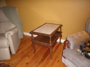 Matching marble top coffee and end tables