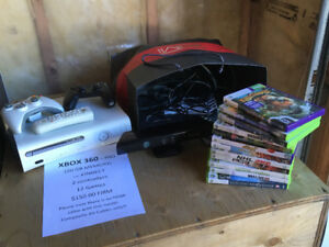 Xbox 360 Pro - 20 GB with Kinnect and 12 games, 2 controllers