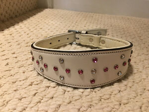"White leather dog collar 16-18.5"" w/Swarovski crystals Brand New"