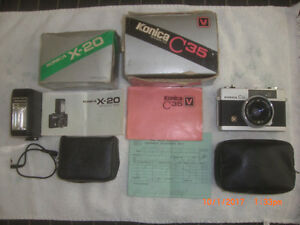 Konica C35 Hexonaon F2.8 Camera with original box and flash