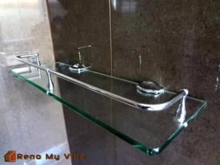 Shower Shelf Glass Bathroom Stainless Steel Frame Large
