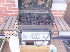BBQ with cover and propane tank