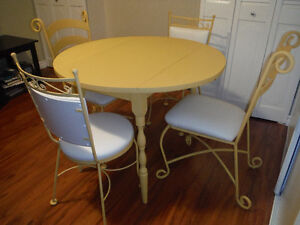 Solid wood table with Wrought Iron Chairs Set