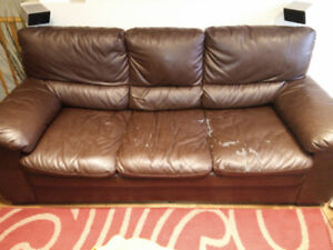 Used brown bonded leather sofa for free, as is,pick up by Oct 17