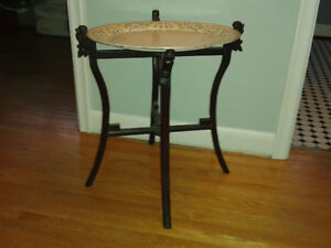 Vintage Carved Wooden Folding Tray Stand - top not included