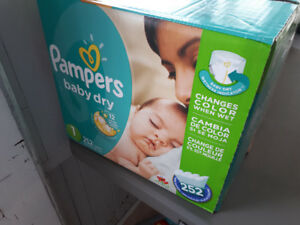 1 box/252 Pampers size 1 Baby Dry Diapers