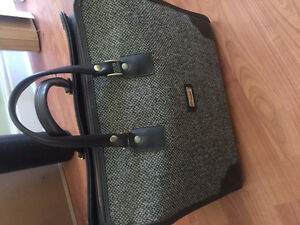 Beautiful vintage suitcase leather and fabric