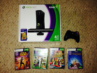XBOX 360 KINECT package with 4 games