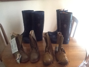 BRAND NEW MEN'S INSULATEDSTEEL TOE WORK AND RUBBER BOOTS, 2 COTS