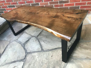 Dark walnut live edge coffee table with metal legs!  NEW
