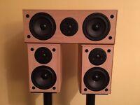 Eltax Jupiter 5 surround sound speakers and stands.