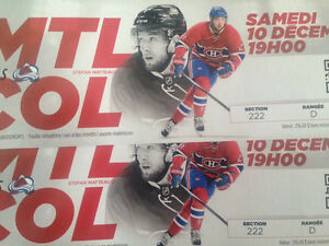 Hockey tickets MTL vs Colorado food include December 10th