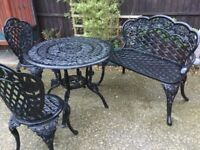 Garden table and chairs and bench good condition