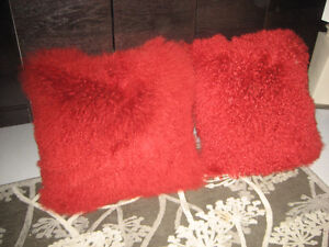 2 RED Angora Pillows