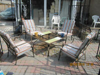 Patio Table & Firepit  with 4 Chairs and Cushions Ex Condition