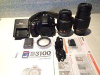 Nikon D D3100 14.2 MP Digital SLR Camera - Black (Kit w/ 18-55mm, 55-200mm Lens)