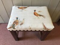 Oak Stool Upholstered in Pheasant Fabric