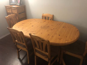 Pine Dining Room Table from Ikea, 6 chairs, with leaf