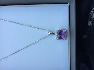 Amethyst white gold necklace 500 obo