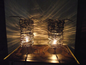 Country Kitch Barbed Wire Table Top Lamps
