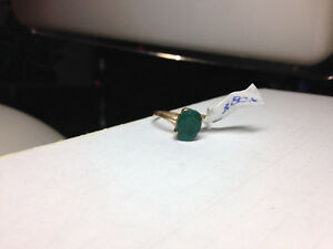 10k Gold Ring with green stone $80