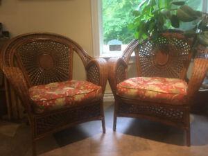 Wonderfully regal wicker chair set