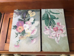 Pair of Antique floral oil paintings