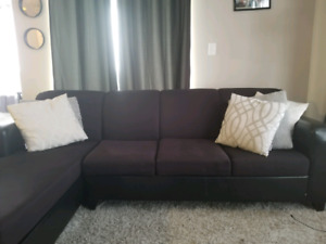 Leather and fabric sectional