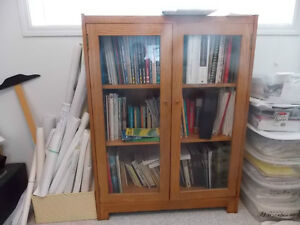 oak book case with glass doors